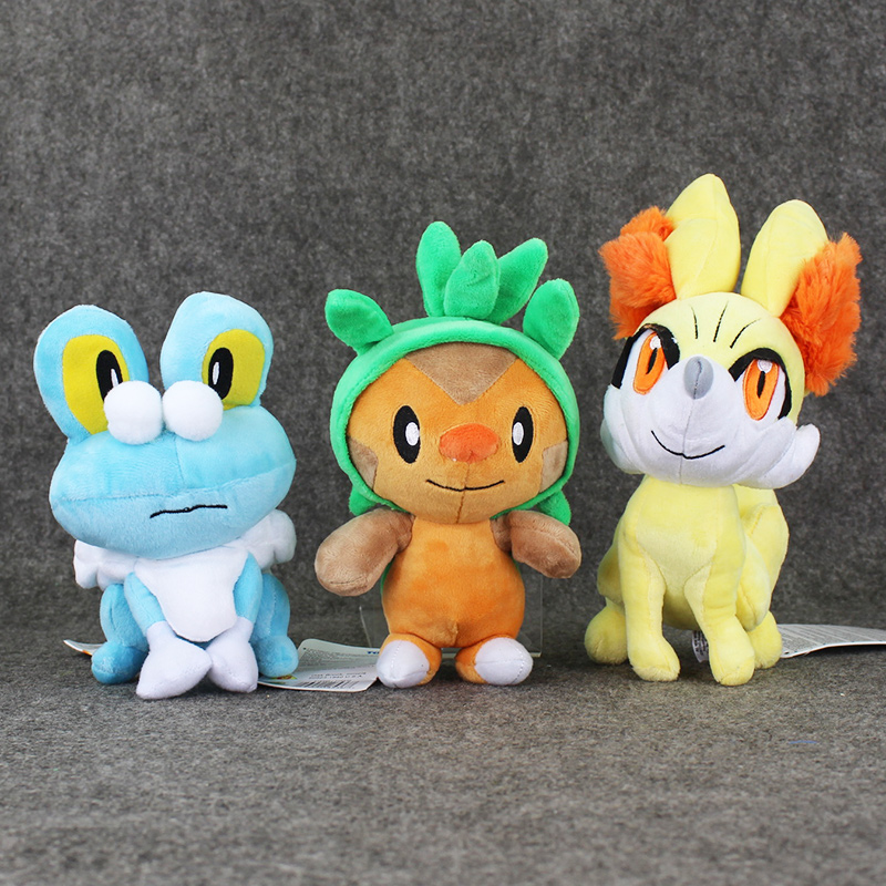 3pcs/lot Anime Figures Collection Froakie&Fennekin Fox&Chespin Plush Toys Hot Game Plush Soft Stuffed Toys Presents for Kids