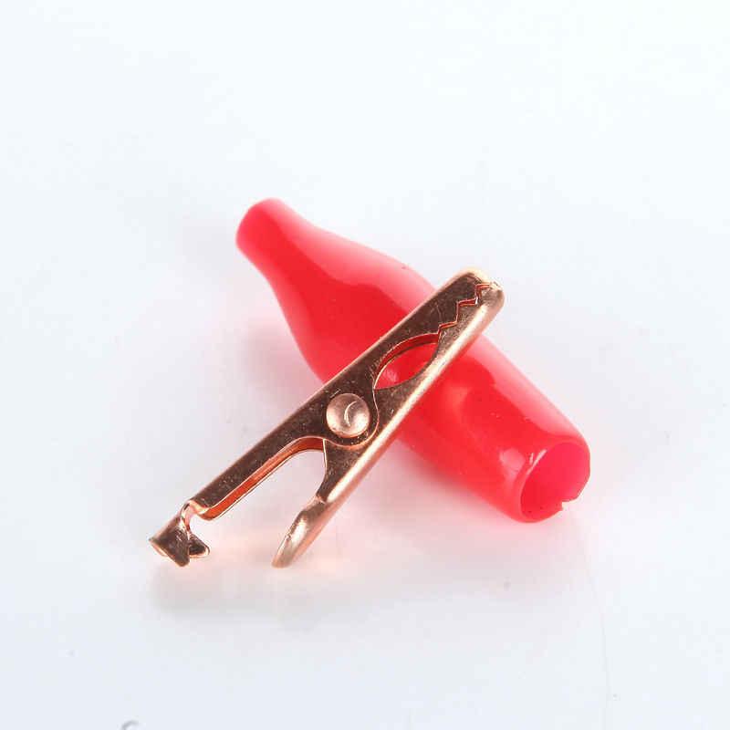 1 個 10A 28 ミリメートルミニ赤銅ワニ口クリップケーブルワイヤーバッテリーワニクリップ電気クランプテスタープローブ車ダブルエンド