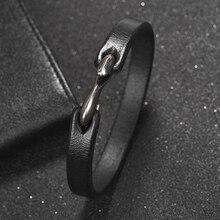 Jiayiqi мужской браслет винтажный черный/коричневый из натуральной кожи мужские часы наручные браслеты мужские ювелирные изделия 20 см/18,5 см