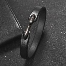 Jiayiqi pulsera de hombre Vintage negro/marrón cuero genuino gancho pulsera hombres pulsera brazaletes joyería masculina 20cm/18,5 cm