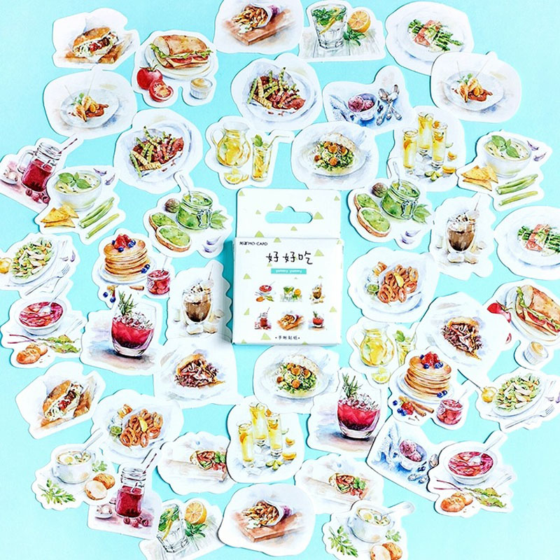 X28 46pcs/ Pack YUMMY YUMMY Delicious Food Decorative Adhesive Stickers Scrapbooking DIY Diary Album Stick Label Decor