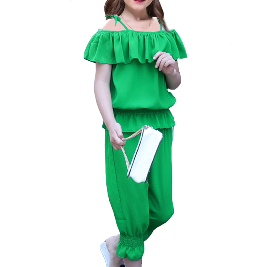 Girls Summer Sets Baby Kids Shoulderless Chiffon Sets Fashion Casual Flounce Shirt + Pants 2PC Suits Child Outfit 8 9 10 Years random 10 items   fashion 5 outfit   5