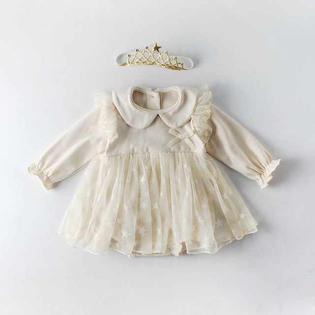 1c67358576f5 Ins Hot 2019 Infant Baby Girl Rompers Lace Gauze Princess Kids Girl ...