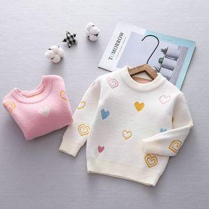 Image 1 - Осенний трикотажный свитер с длинным рукавом и принтом любящего сердца для маленьких девочек, бархатный пуловер, джемперы