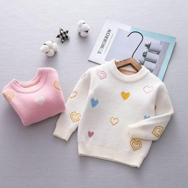 Autumn Baby Kids Loving Heart Print Long Sleeve Knitwear Sweater Children Girls Velvet Pullover Jumpers