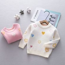 Suéter de manga larga de punto con estampado de corazón para niños y bebés de otoño