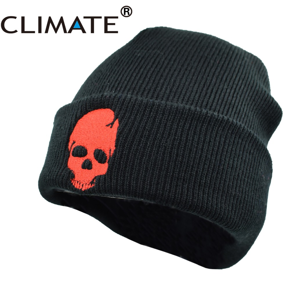 CLIMATE Men Winter Warm Knitted Hat Beanies Skeleton Skulls Cool Black Hip hop Warm Knitted Hat Caps Hat Cap For Adult Men 2016 meow winter hat for women and men beanies diamond knitted warm hip hop bad hair day wool caps hat female skullies beanies