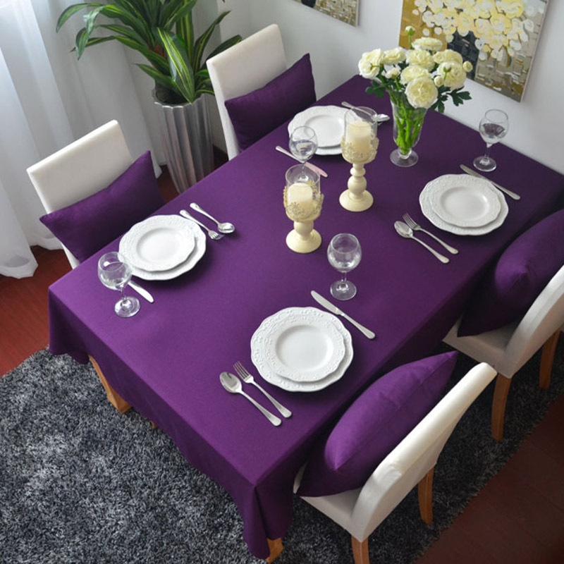 Sunnyrain 1 Piece Cotton Solid Color Purple Table Cloth