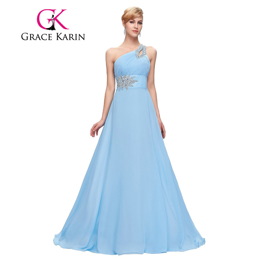 Grace karin evening dresses long one shoulder floor length chiffon grace karin evening dresses long one shoulder floor length chiffon bridesmaid prom dress gowns robe de soiree longue 2017 in bridesmaid dresses from ombrellifo Images
