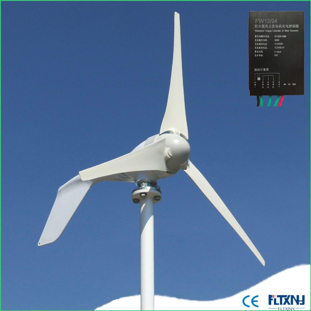 Nouveau générateur de turbine à vent Micro 400 w 12 v 24 v 48 v horizontal à faible bruit avec 3 lames ou 5 lames à haut rendement