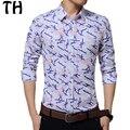 China Plus Size 5XL Primavera Outono Geométrica Imprimir Camisas Dos Homens de Manga Comprida Camisa Business Casual Camisa Masculina Social #161770
