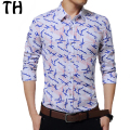 China Plus Size 5XL Spring Autumn Geometric Print Shirts Men Long Sleeve Social Business Casual Shirt Camisa Masculina #161770