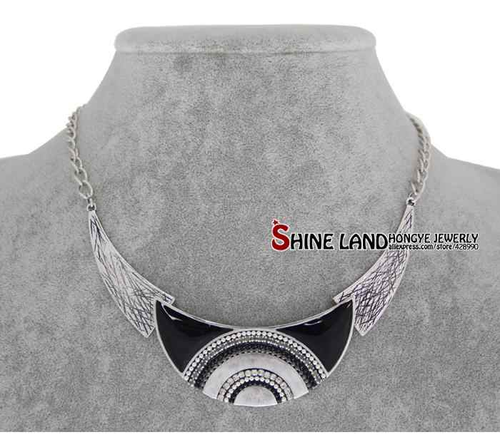 Shineland Collares 2020 Mới Thời Trang Nữ Dân Tộc Tráng Men Hạt Mặt Trăng Hình Choker Tuyên Bố Mặt Dây Chuyền Vòng Cổ Vàng Lấp Đầy Trang Sức