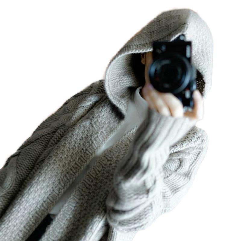 Lungo Delle Colore Morbido Con Moda Di 2018 Donne Maglione Del cachi Autunno Nuovo Cardigan Cachemire Inverno Black Cappotto Cappuccio Solido Spessore grigio FTlJK1c