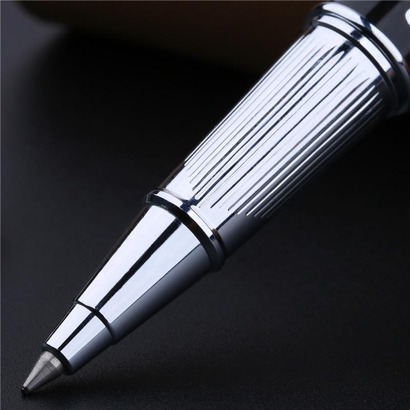 Clip en argent haut de gamme en métal avec stylo à bille roulante avec des stylos noirs avec un cadeau de luxe - 4
