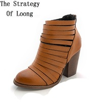 Women Summer Thick Heels Cut Out Fashion Retro Genuine Leather Ankle Boots Pointed Toe Gladiator Vintage