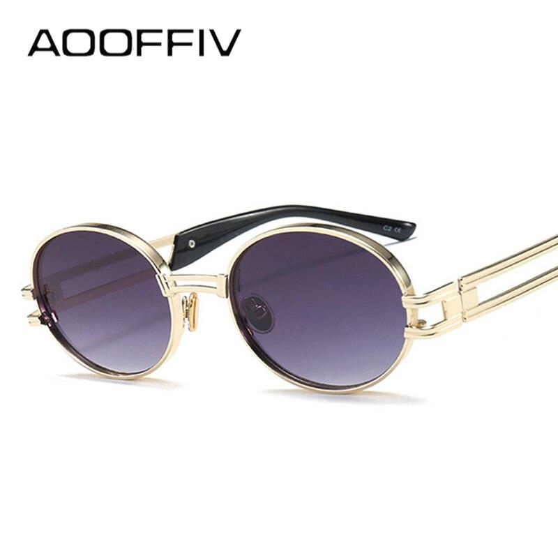 AOOFFIV Round Glasses Metal Frame Oval Sunglasses Women Steampunk Men Fashion Glasses Brand Designer Retro Vintage Sun glasses