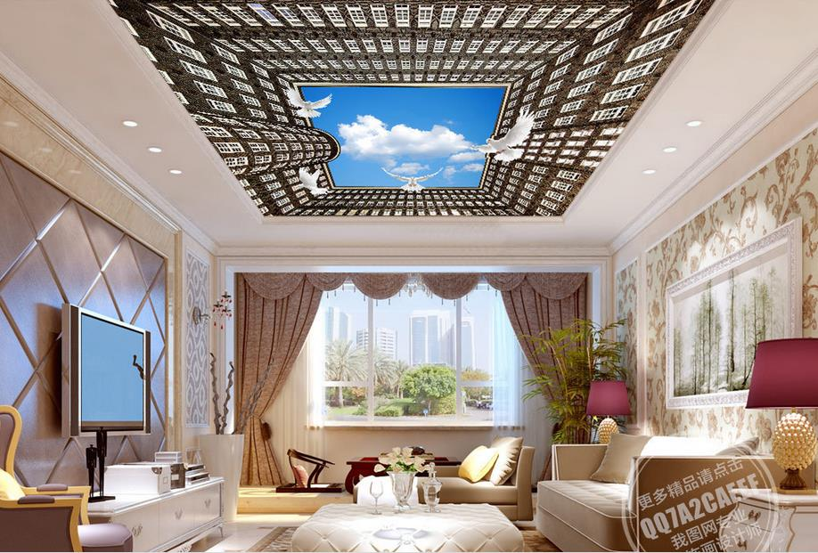 Custom 3d Ceiling Murals Building Baiyunfei Pigeon Wallpaper For Bathroom 3d Ceiling Murals Wallpaper On The