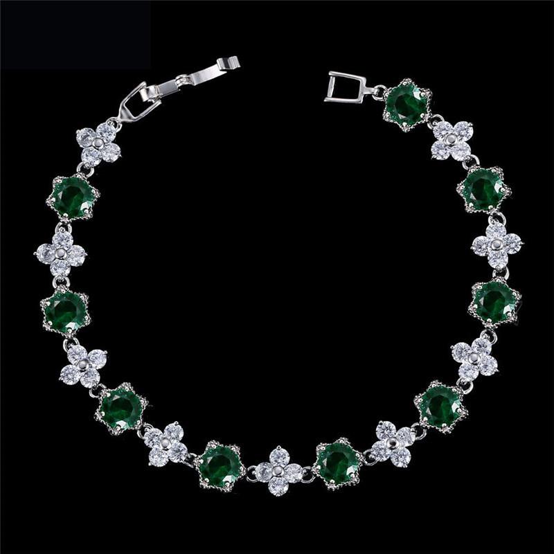 CC Bracelets For Women Luxury High Quality Female Flowers Leaf Shape Crystal Stone Wedding Accessories Party Bride Jewelry S0053