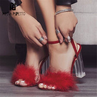 Prova Perfetto Sexy Red Women Gladiator Sandals Fur Decor 11CM High Heels Transparent Heel Sandalias Mujer Women Pumps Stiletto