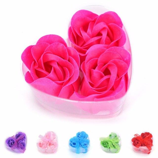 Hot Sale 3pcs Scented Bath Body Flower Soap Rose Petal in Heart Box Wedding Favor 1