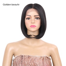 8inch Synthetic Lace Front Wig Bob Heat Resistant Straight Bob Wig Short Black Lace Front Wig For Woman Golden Beauty недорого