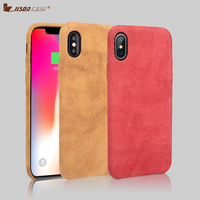 Jisoncase Microfiber Phone Case for iPhone X XS Suede lined PC Protective Back Cover Ultra thin 5.8 Half wrapped Cases 2018 New