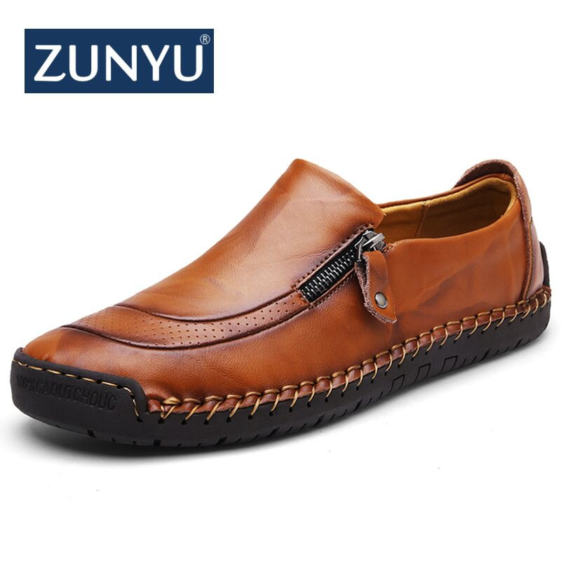 New Big Size 38-48 Men Casual Shoes Loafers Spring And Autumn Mens Moccasins Shoes Genuine Leather Men's Flats Shoes ZUNYU Brand