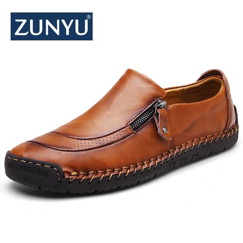 ZUNYU/Новая мужская повседневная обувь, большие размеры 38 48 демисезонные лоферы, мужские Мокасины Мужская обувь из натуральной кожи на плоской подошве Брендовая обувь-in Мужская повседневная обувь from Обувь