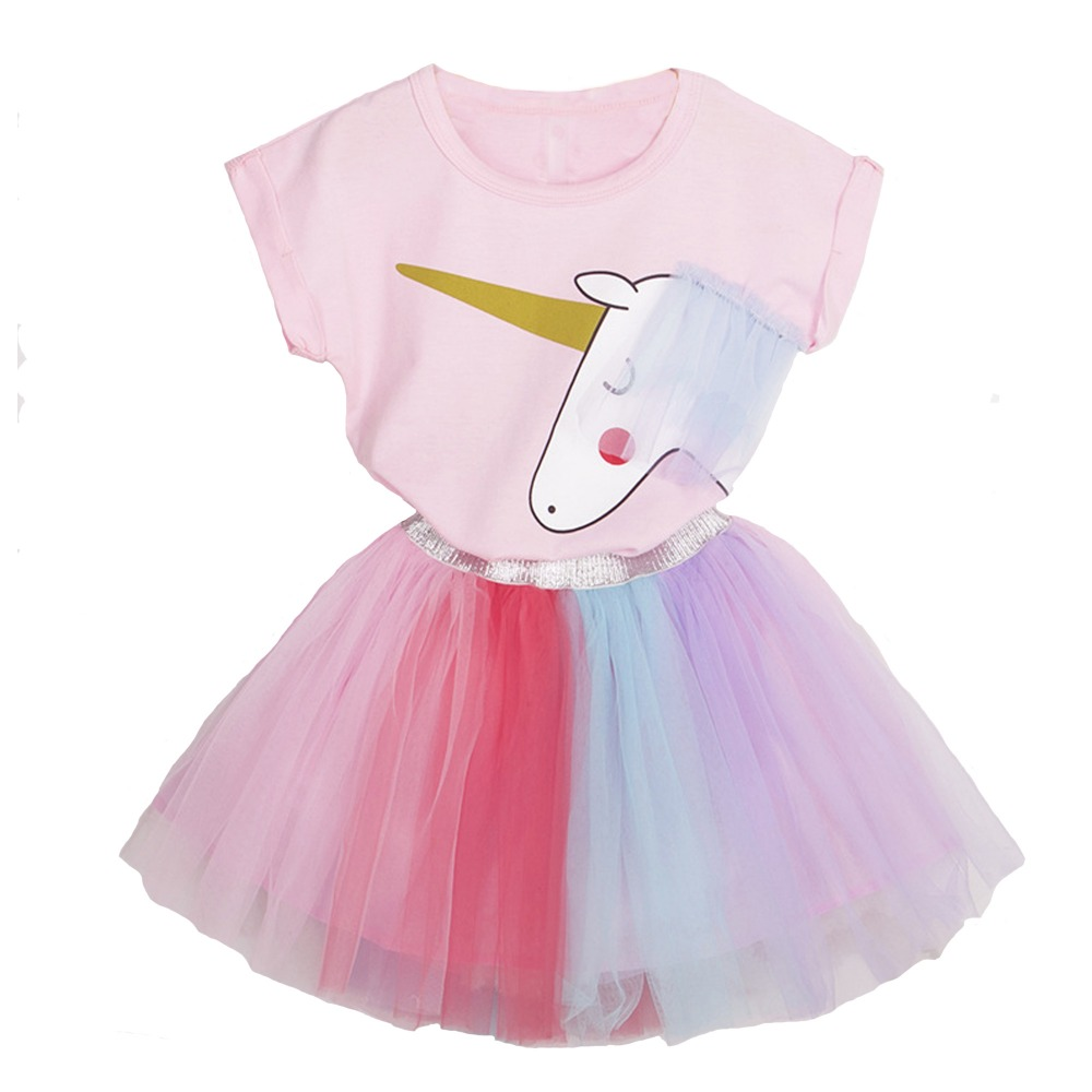 Huarll Toddler Kids Girl Clothes Cartoon Unicorn Printed T Shirt Top Matching Rainbow Tutu Dress Party Tutu Skirt