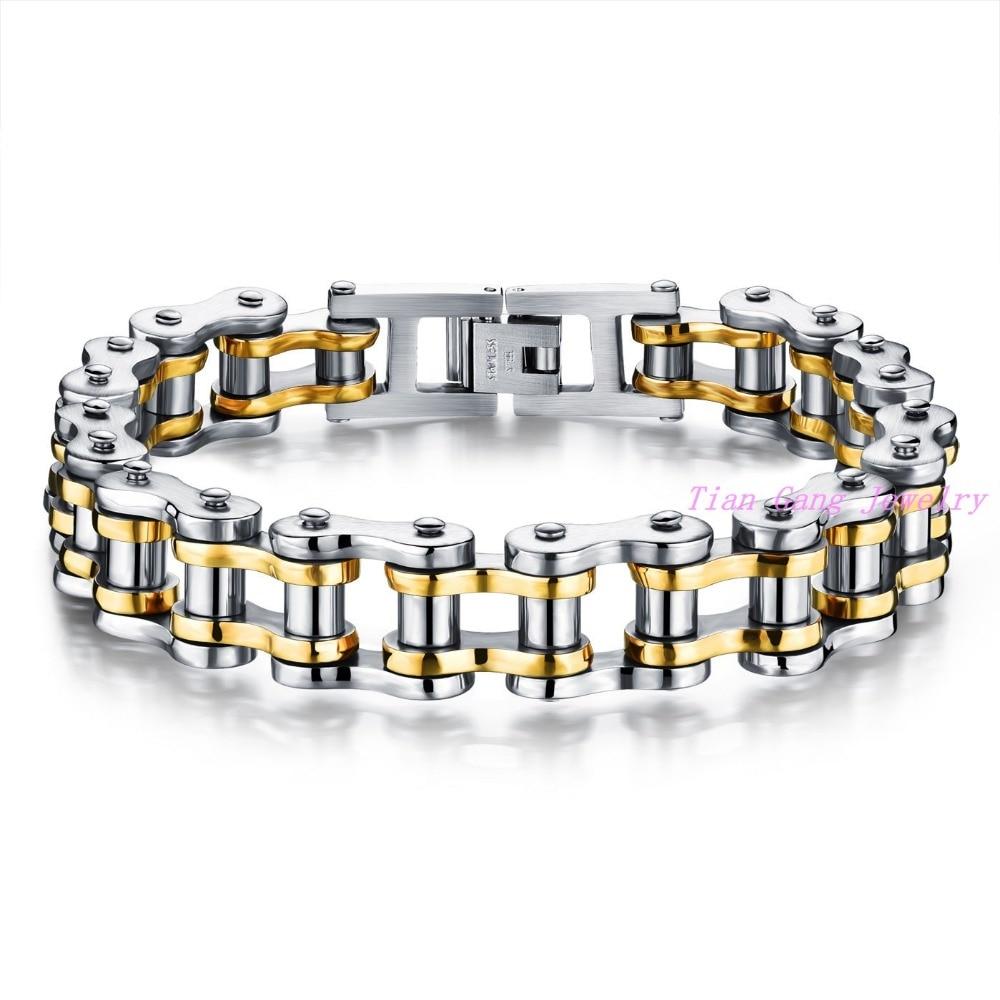Men s font b Bracelet b font Fashion Black font b Gold b font Stainless steel