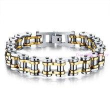 Men's Bracelet Fashion Black&Gold Stainless steel Bike Chain Design Bracelet For Men bracelet Bangle Fashion Jewelry 8.5″