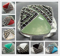 5 Color 14X15mm Inlay Gem Marcasite 925 Sterling Silver Jewelry Ring Sz 7 8 9 10