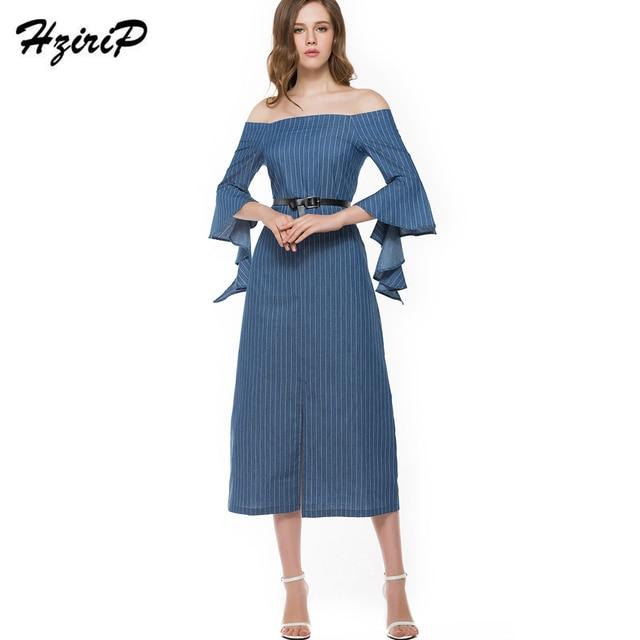 25c8422a74 Femme HziriP Primavera Outono Vestido Longo Casual Com Mulheres Cinto plus  Size S-XL Listrado