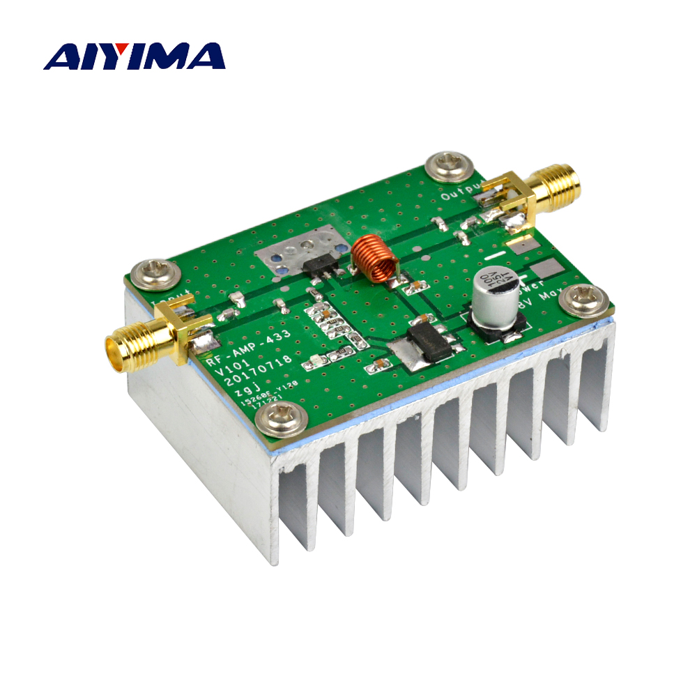 Aiyima New 433MHz 8W Power Amplifier Board RF HF High Frequency Amplifiers Digital Power Amplificador aiyima 42db 1mhz 800mhz 433mhz rf uvf linear power amplifier hf fm