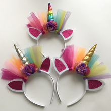 2PCS Glitter Metallic Unicorn Headband,For Girls And Kids 2017 DIY Felt Horn Headband,Unicorn Party Hair Accessories