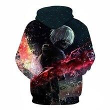 BIANYILONG 2018 New Hooded Anime Tokyo Ghoul Hooded Sweatshirt Anime Cool 3D Print Mens Womens Hoodie