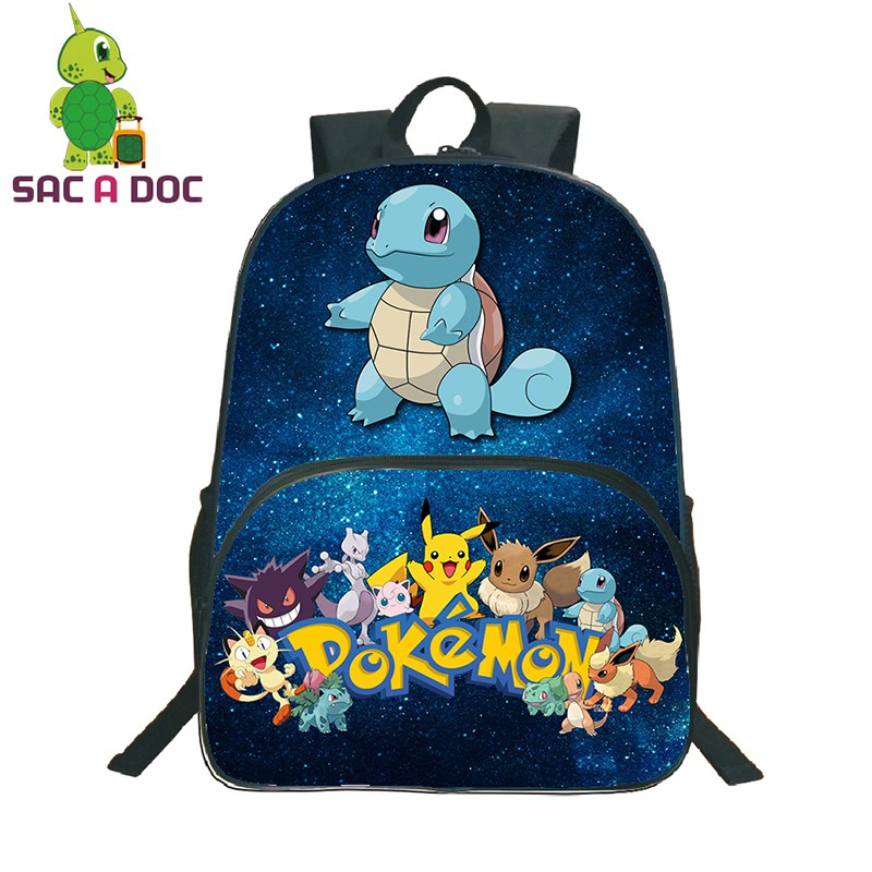Women Men Backpacks Pokemon Squirtle Snorlax Blue Galaxy Star Universe Space Backpack for Girls Boys School Bagpack Kids Bags Рюкзак