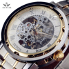Top Brand SEWOR Men Stainless Steel Band Mechanical Hand Wind Watch Classic Wristwatches Steampunk Gold Skeleton
