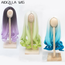 1/3 1/4 1/6 Scale Bjd Wig Hair High-temperature Synthetic Fiber Long Curly Purple Green Blue Ombre Color Wigs for BJD Dolls new arrival 1 piece 100cm long wigs wave small curly long wig hair tree for 1 3 1 4 1 6 bjd diy dolls hair