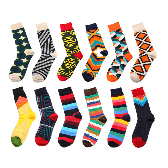PEONFLY Fashion Men Colorful Lattice Striped Jacquard Art Dress Cotton Socks Multi Pattern Long Funny Happy Skateboard Sock Male