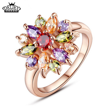 Free Shipping!!!Unique Design Flower Rose Gold Rings AAA Colorful Cubic Rings For Women Girl Party Christmas Gift