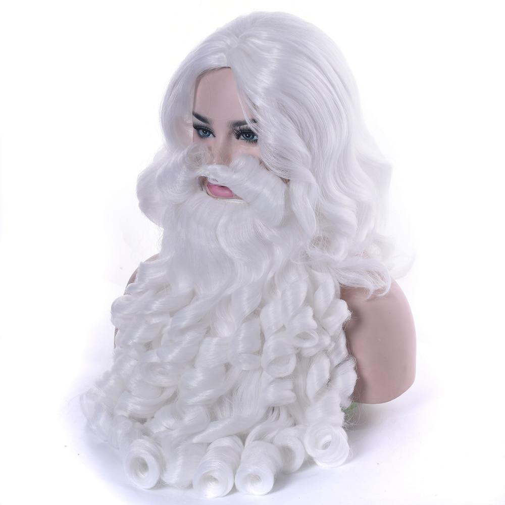 Soowee Weihnachtsgeschenk Weihnachtsmann Perücke und Bart Synthetische Haar Kurze Cosplay Perücken für Männer Weiß Haarteil Zubehör