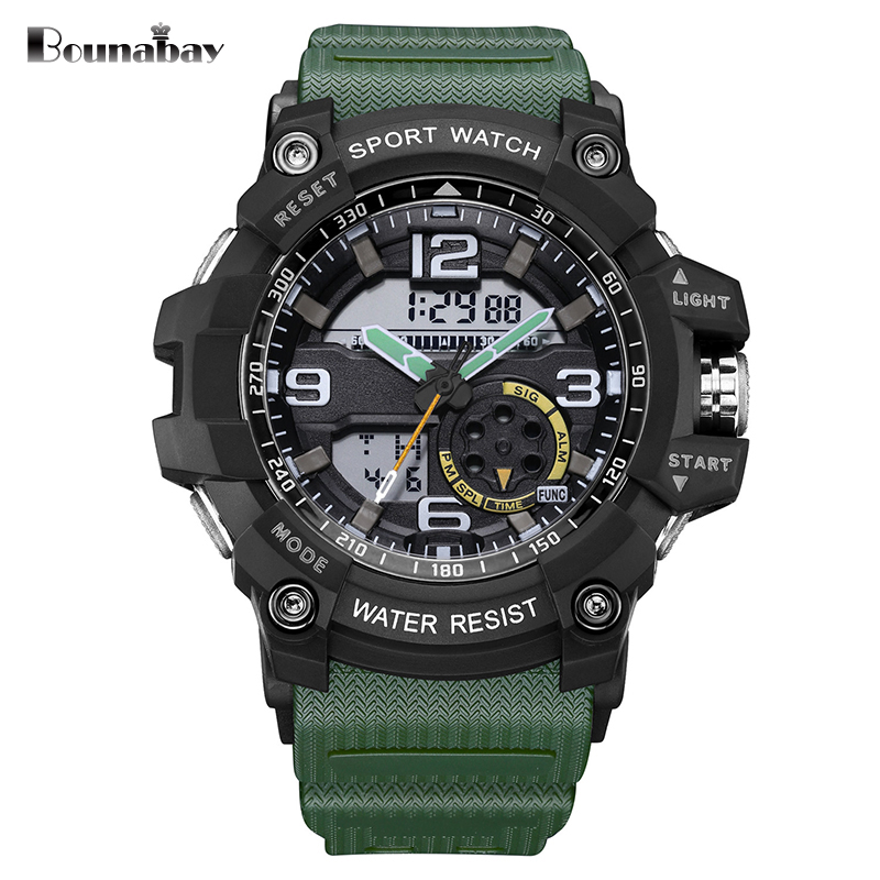 SANDA Automatic waterproof wristwatch Men Fashion dual display army military Watch top quality mens famous datajust clock gshock smael 1708b