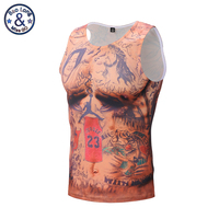 New Arrival 2017 Mens Tank Top Fashion Funny Hip Hop 3D Print Tattoo Muscle Tank Top