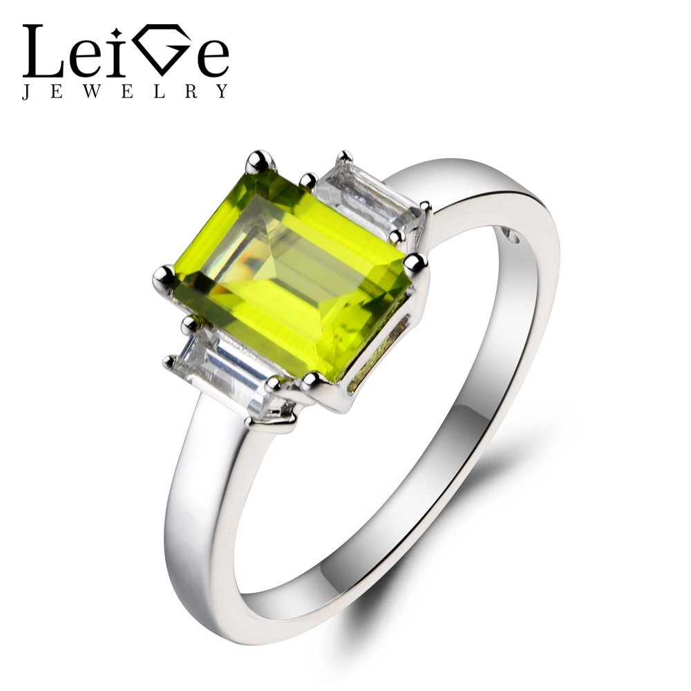 Leige Jewelry Natural Green Peridot Ring Anniversary Ring August Birthstone Emerald Cut Green Gemstone 925 Sterling Silver Ring цена