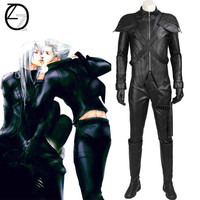 Final Fantasy 7 Loz Cosplay Advent Children Men Adult Men Leather Outfit Halloween Male Black Customized