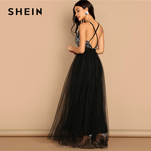 Image 3 - SHEIN ブラックアヤ目バックスパンコールボディスメッシュホルターディープ V ネックフィットとフレアソリッドスリムロングドレス秋の女性パーティードレス
