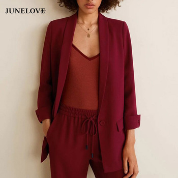 JuneLove Women Autumn Long Sleeve Casual Blazers Vintage Single Button Female Loose Blazers Office Ladies Formal Blazers Outwear