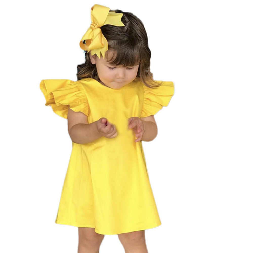 Летние детские топы для девочек, рукава-крылья однотонная летняя одежда для маленьких девочек платье с бантом платья JAN17